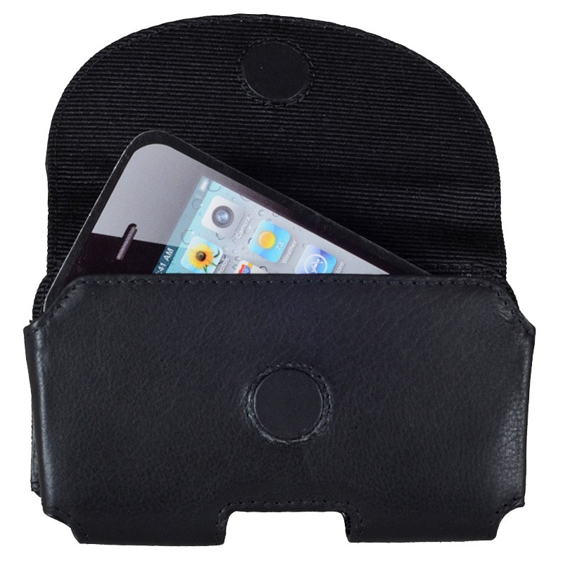 Sort Unisex Iphone Mobiltaske i Kalveskind