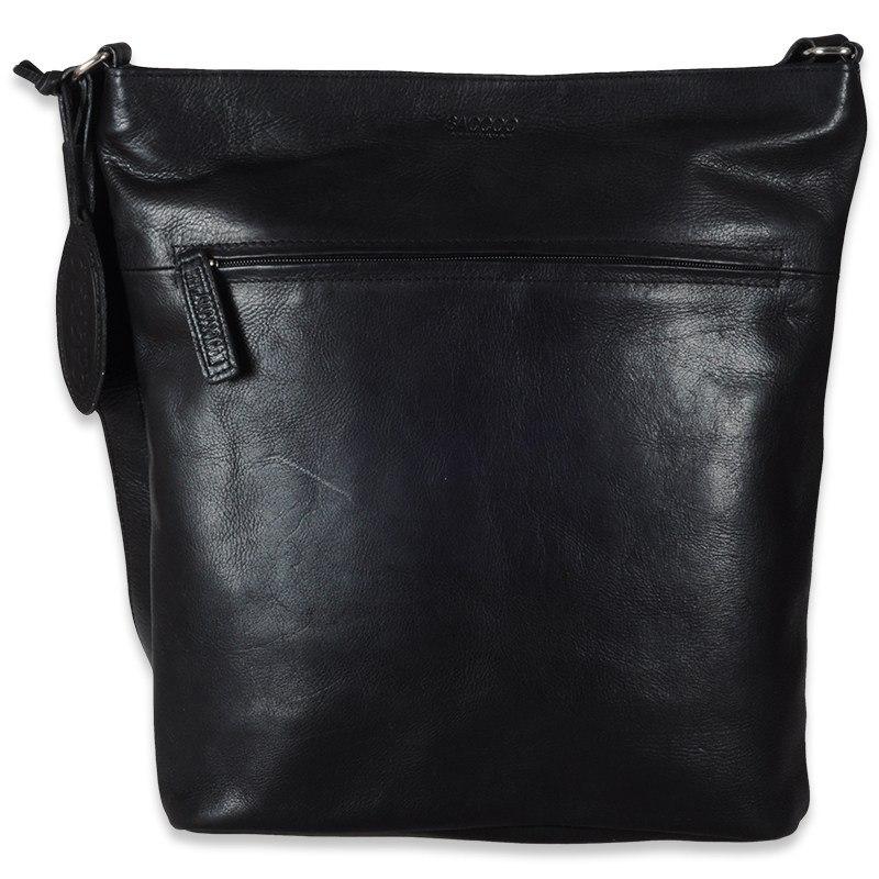 Monte sort skuldertaske - Rummelig lædertaske