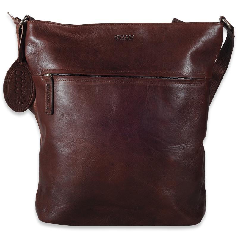 Monte brun skuldertaske - Rummelig lædertaske