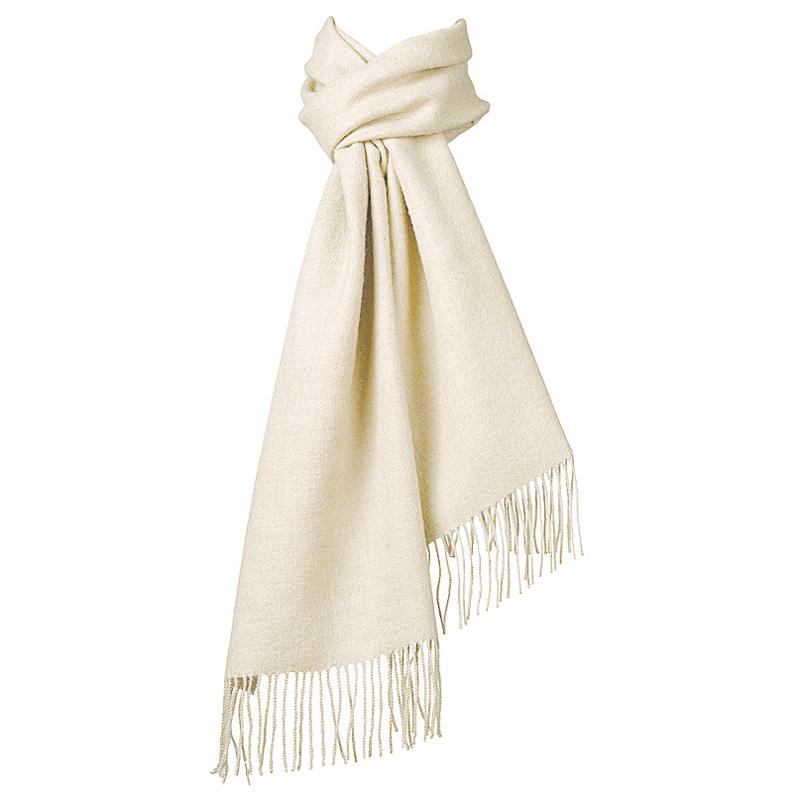 Hvid Halstørklæde 100% Baby Alpaka Uld