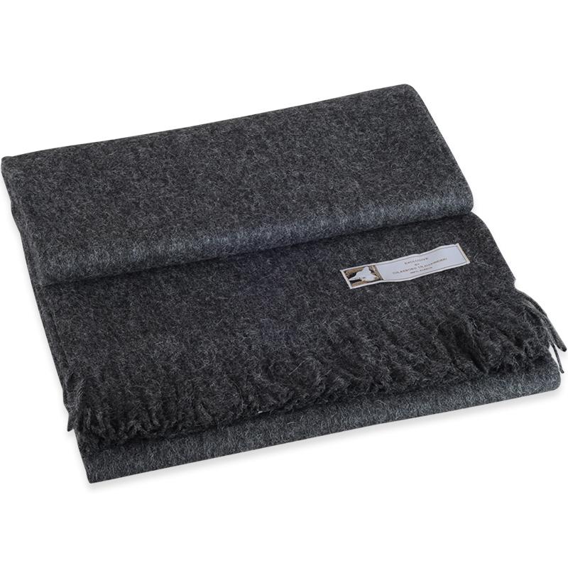 Jessica mørkegrå plaid i 100% alpaca uld - 130 X 190 cm