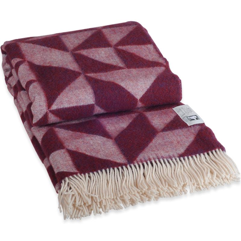 Twist A Twill plaid i 100% uld - bordeaux rød 130 X 190 cm