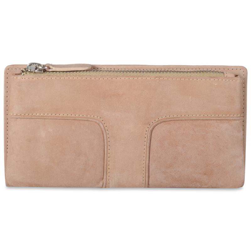 Pung og clutch i sand læder - Rustikt læder med patina look