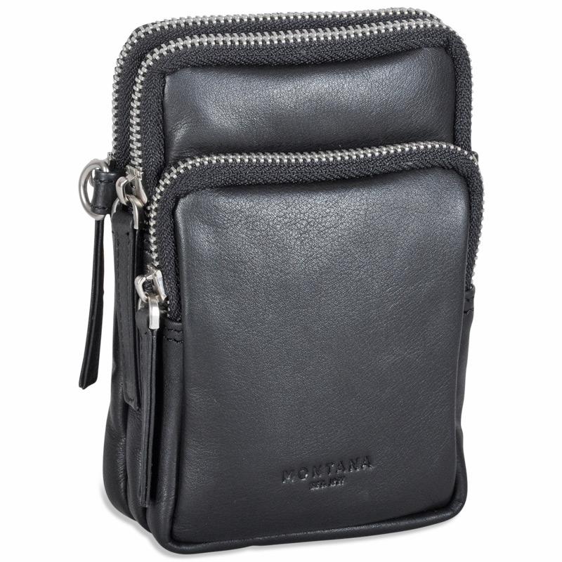 Montana Svart mobilväska bälte väska crossover i läder