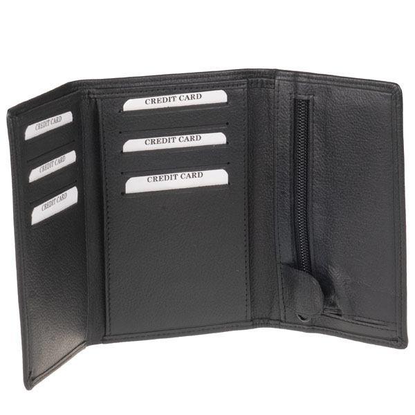 Sort 3 fløjet tegnebog m. plads til 10 kort