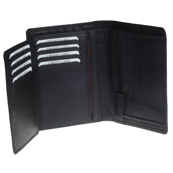Læderpung - 2 fløjet i sort kalveskind til 8 kort