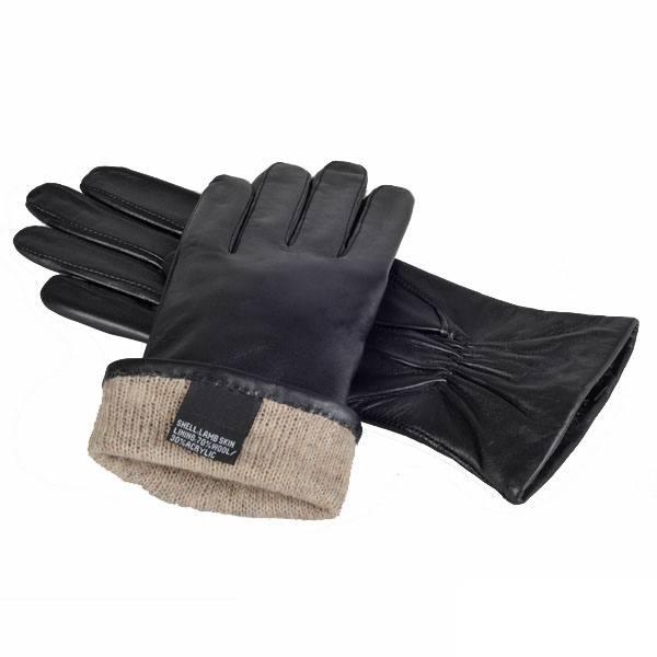 Sorte læderhandsker med uldfor