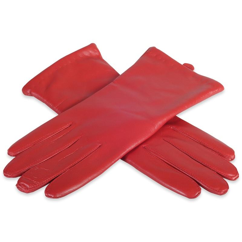 Røde læderhandsker med uldfor