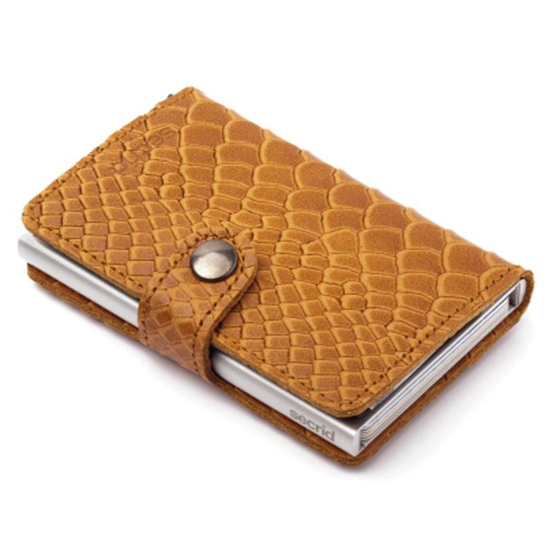 Cognac Reptile Miniwallet Aluminiums Pung - RFID safe