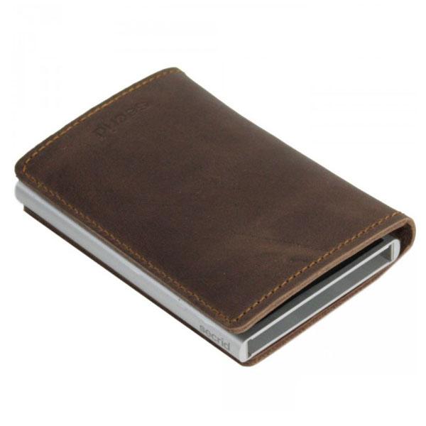 Vintage Brown Slimwallet Aluminiums Pung - RFID safe
