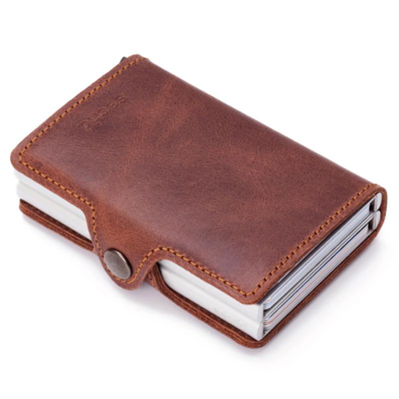 Vintage Brown Twinwallet - Aluminium Kortholder - RFID safe