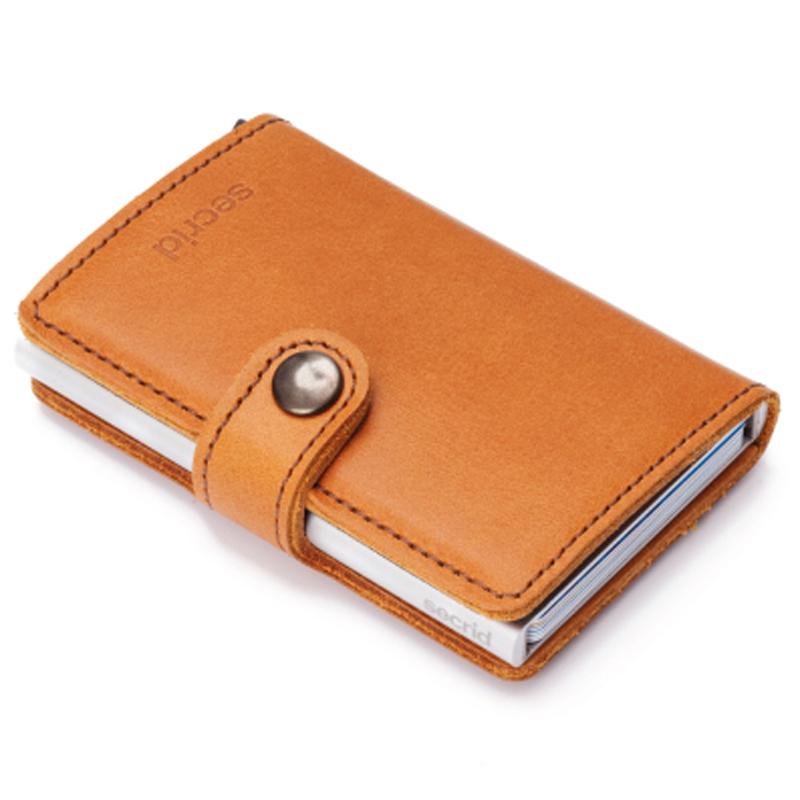 Cognac Miniwallet Aluminiums Pung - RFID safe