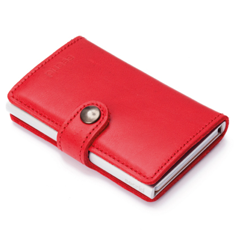 Rød Miniwallet Aluminiums Pung - RFID safe