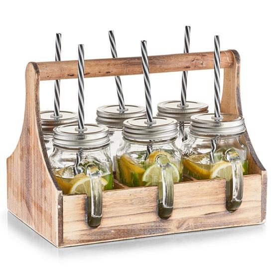 Zeller Present 6 Drikkeglas med hank i Trækasse - 29 X 22,5 X 22