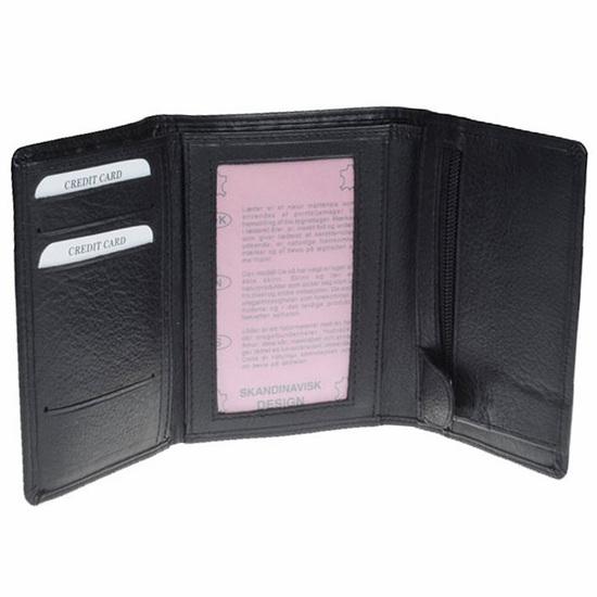 Bruuns Sort Herrepung i Kalveskind - 4 Kort - RFID safe