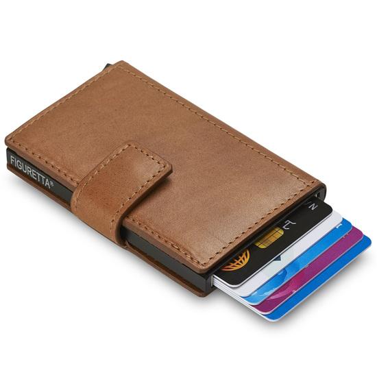 Figuretta RFID-safe Cognac Miniwallet Kortholder Pung -8-10 kort