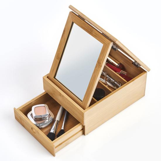 Zeller Present Makeup Box / Skrin i Træ Med Spejl