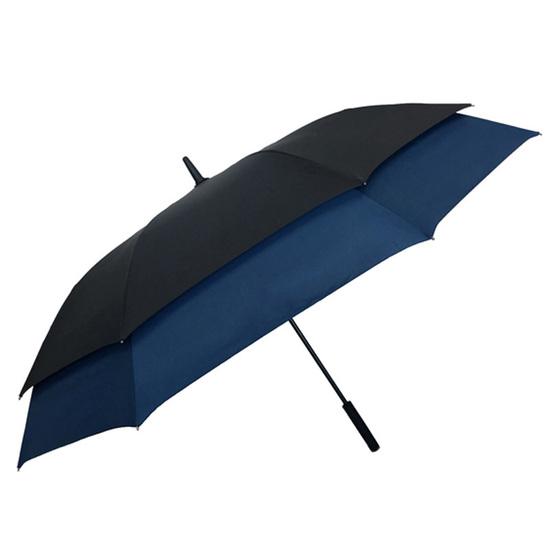 Smati Stor Paraply med Blå kant - Vindsikker - B: 128 cm