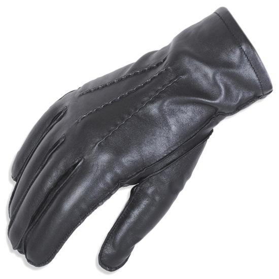 H.K. Sorte Herre handsker i Skind m. Denter