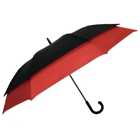 Smati Stor Paraply med Rød kant - Vindsikker - B: 128 cm